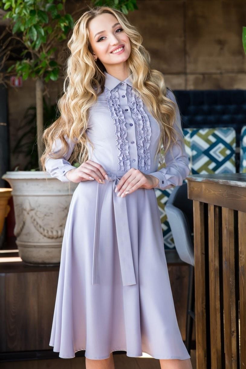 62-02 Серое платье - фото 6155