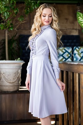 62-02 Серое платье - фото 6158