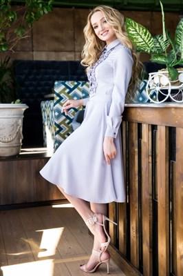 62-02 Серое платье - фото 6160
