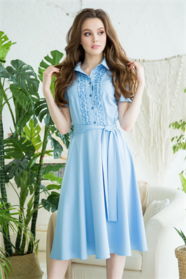 82-09 Голубое платье - фото 8363